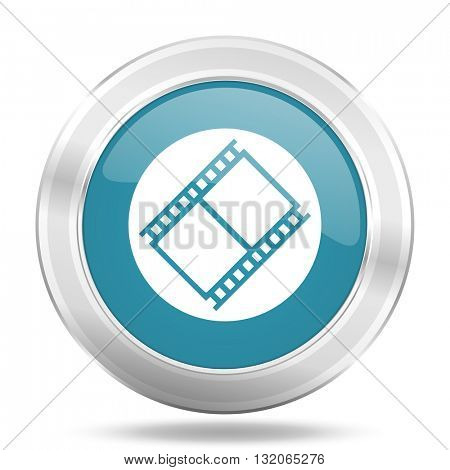 film icon, blue round metallic glossy button, web and mobile app design illustration
