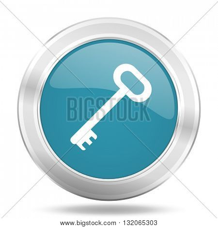 key icon, blue round metallic glossy button, web and mobile app design illustration