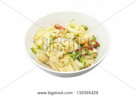 Spicy wonton salad with snow fungus mushroom, Thai food