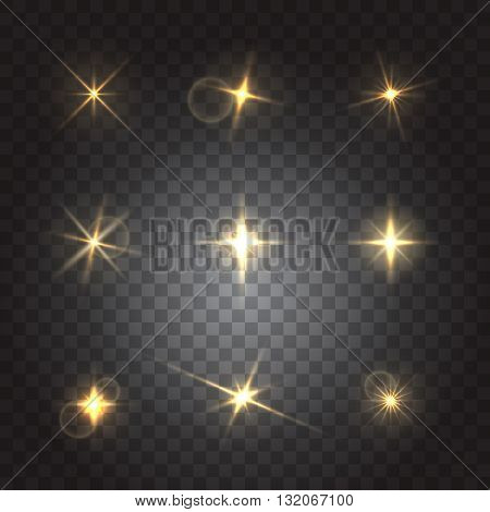 Set of flash lights and shiny glitter, vector illustration