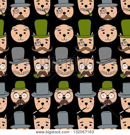 Hand Drawn seamless pattern vector Illustration. Gentleman cats in hipster accessories.Mustache, glasses, hat, cigar.