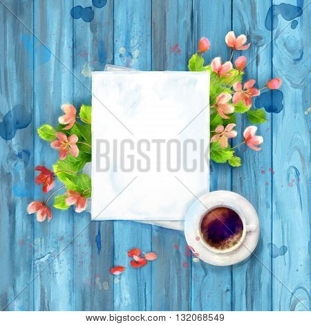 Spring Top View Background. Blank paper sheet with cup of coffee, pen, cherry blossom flowers on wooden table