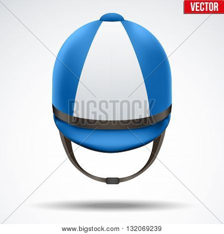 Classic Blue Jockey helmet for horse riding athlete. Front view of Sport equipment. Vector Illustration isolated on a white background.