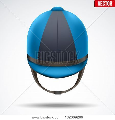 Classic Blue and Black Jockey helmet for horse riding athlete. Front view of Sport equipment. Vector Illustration isolated on a white background.