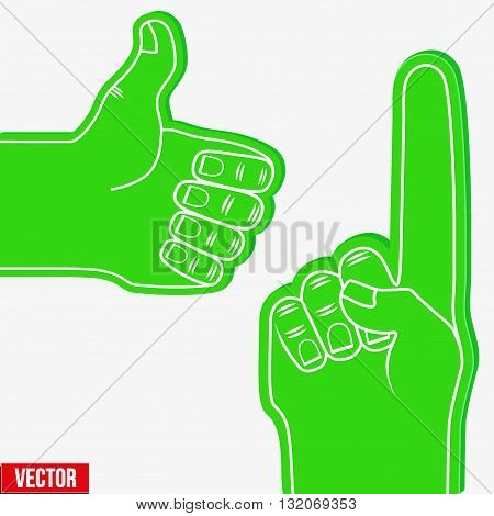 Set of Sports Green Fans holding Foam Fingers. Up and like. Vector Illustration Isolated on white background.