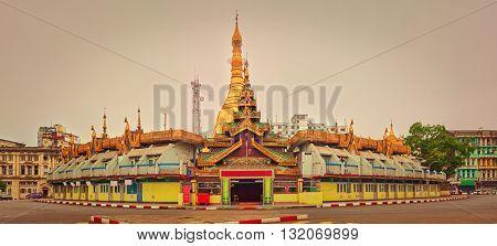 Sule Pagoda Pagoda in Yangon. Myanmar. Panorama