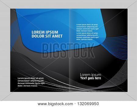 Abstract Wavy bi-fold Brochure Template.Bi fold business brochure vector template