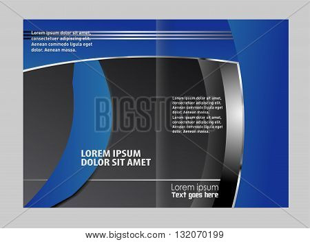 Blue brochure template. Colorful Bi-Fold Brochure Design. Corporate Leaflet, Cover Template