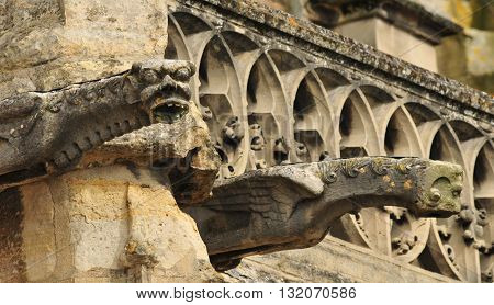 Triel sur Seine France - april 3 2016 : gargoyle on Saint Martin church