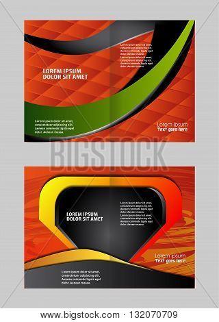 Empty bi-fold brochure template design with blue color, booklet