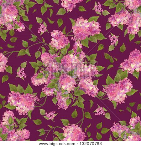 Floral seamless pattern of watercolor lilac branches