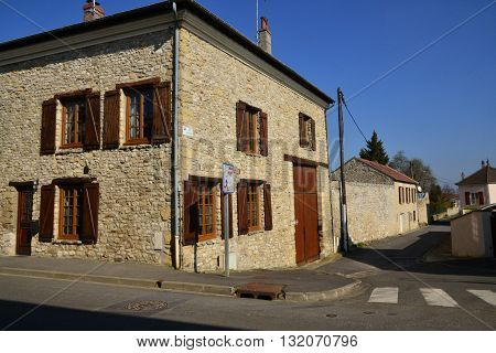 Ableiges France - august 12 2015 : the picturesque village of La Villeneuve Saint Martin