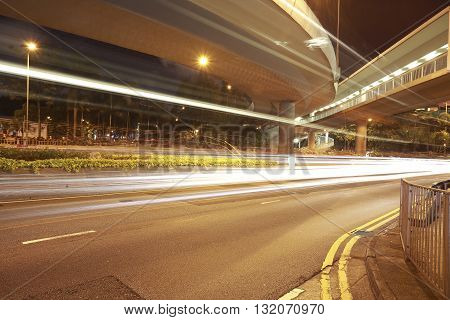 Viaduct and road  car light trails night
