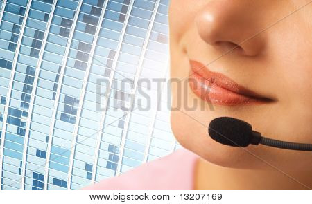 Beautiful hotline operator with headset
