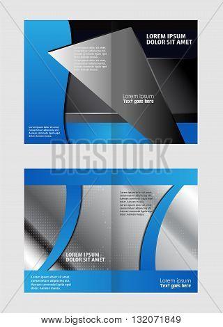 Blue brochure bi fold template. Brochure template folder leaflet