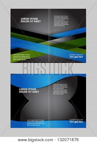 Brochure design template. Empty bi-fold brochure template design with blue color, booklet