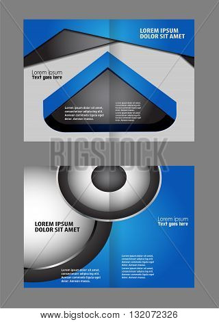 Abstract Wavy bi-fold Brochure Template. Bi-Fold Brochure Design
