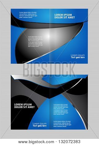 Vector modern bi-fold brochure design template with red background