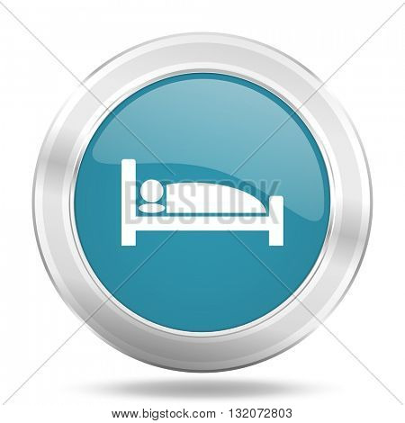 hotel icon, blue round metallic glossy button, web and mobile app design illustration