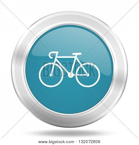 bicycle icon, blue round metallic glossy button, web and mobile app design illustration