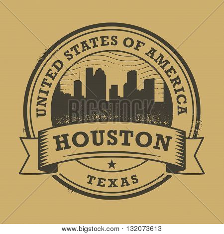 Grunge rubber stamp or label with name of Texas, Houston, vector illustration