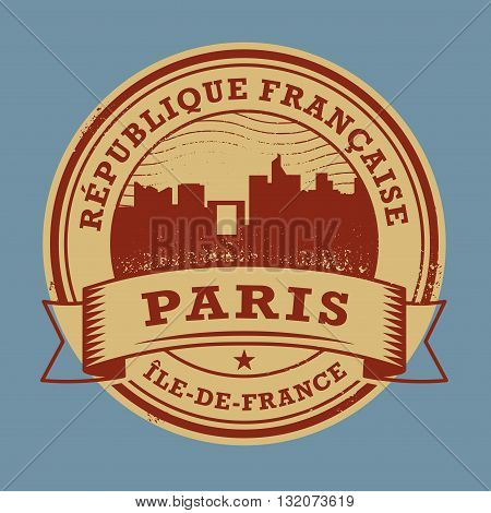 Grunge rubber stamp or label with name of France, Paris, vector illustration
