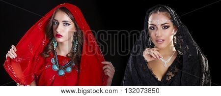 Young beautiful brunette women in indian red and black dress
