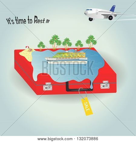 time to rest.Vector illustration cruise liner ocean