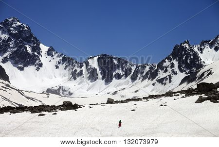 Hiker in snowy mountains. Turkey Kachkar Mountains in spring (highest part of Pontic Mountains).