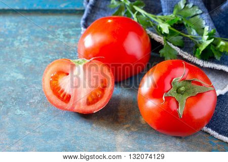 Fresh Organic Tomatoes On A Wooden Table, A Place For Your Text.