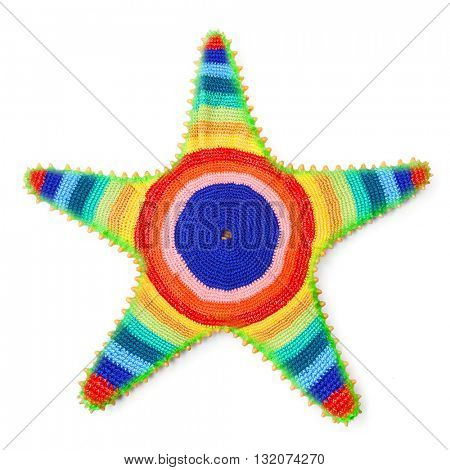 The Caribbean starfish in rasta colors. Decoration isolated on white background. Symbol of Happy Holidays in tropical paradise.