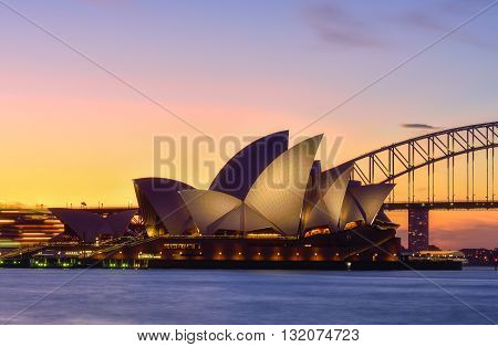 SYDNEY AUSTRALIA - Augus,5, 2016 : Sunset at Sydney Opera House Sydney Australia Over 10 millions tourists visit Sydney every year