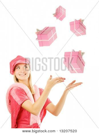 mrs. Santa with catching a gift box. Isolated on white background