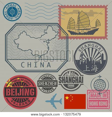 Travel stamps set with the text China, Shanghai, Beijing (in chinese language too), vector illustration