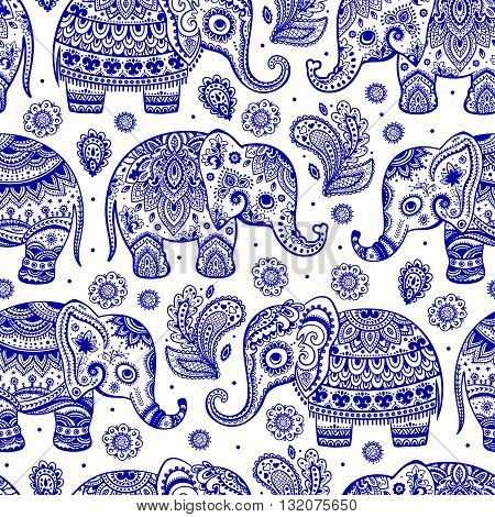 Ethnic vintage elephant seamless for you business