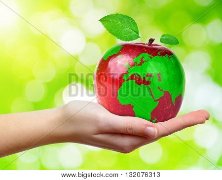 Red apple with world map in hand on green natural background.