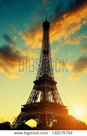 Eiffel Tower in the sunset - Paris, France