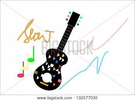 Guitar vector illustration guitar, logo, vector, line, melody