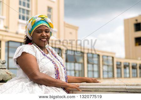 Brazilian woman wearing traditional clothes in Salvador, Bahia, Brazil