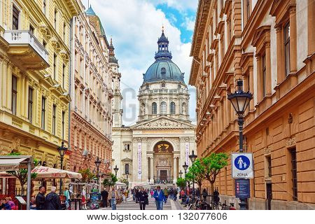 Budapest,hungary-may 02, 2016 St.stephen Basilica In Budapest At Daytime ,people  Near Basilica.