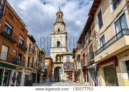 Toro Spain - March 22 2016: Clock tower in front of the market tourist cultural center of the city of Toro province of Zamora. Spain
