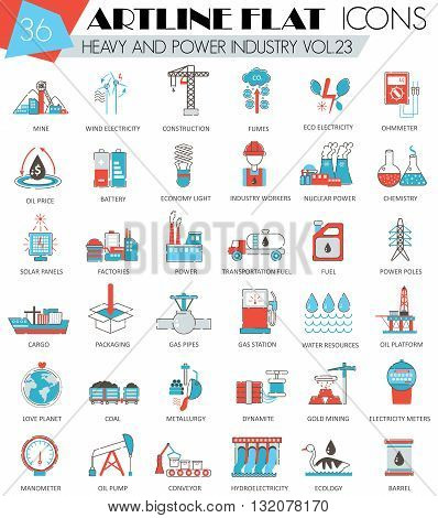 Vector Heavy and power industry ultra modern outline artline flat line icons for web and apps