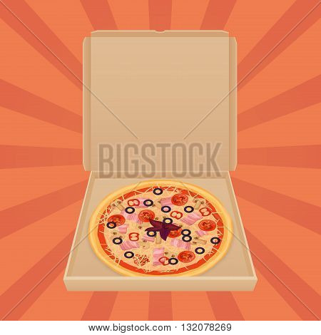 Pizza in paper box isolated. Pizza delivery box craft service and menu web advertisement banner