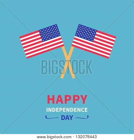 Two flags Happy independence day United states of America. 4th of July. Greeting card. Blue background. Flat design. Vector illustration