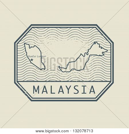 Stamp with the name and map of Malaysia, vector illustration