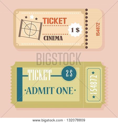 Vector Vintage Retro cinema tickets concept isolated.