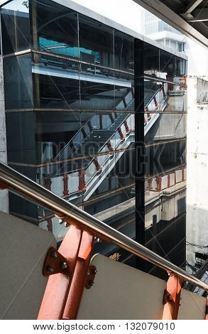 Stairs with reflection on mirror, street photography