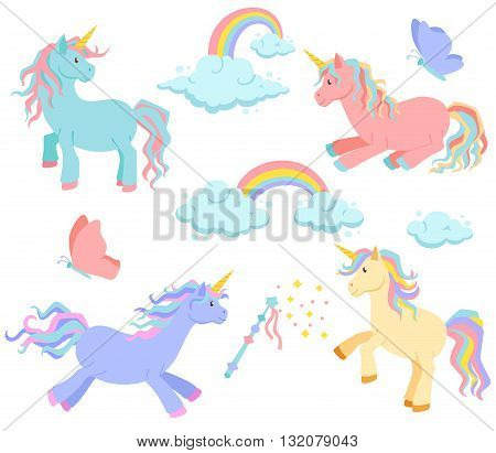Unicorn, rainbow and clouds magic vector set. Unicorn sleeps, rides standing. Cute unicorn cartoon illustration. Unicorns, rainbows and clouds, magic wand and butterflies for birthday greeting card