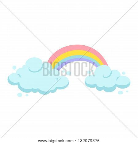 Rainbow and clouds cartoon vector. Rainbow and cloud clipart. Cute rainbow and cloud illustration. Kids poster design with rainbow and clouds. Birthday greeting card
