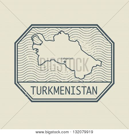 Stamp with the name and map of Turkmenistan, vector illustration